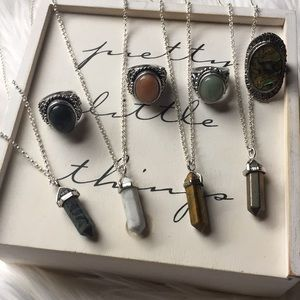 Jewelry - Bundle of 4 crystal necklaces and 4 rings
